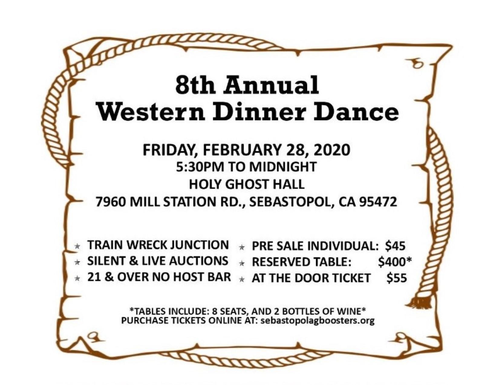 Flyer for February 20, 2020 Dinner Dance